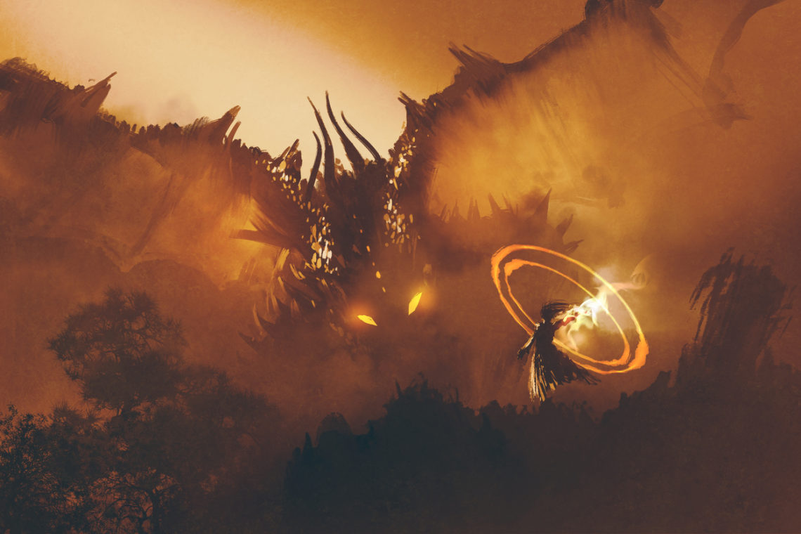 A dragon with fiery eyes emerges from the mist, looking toward a human summoner.