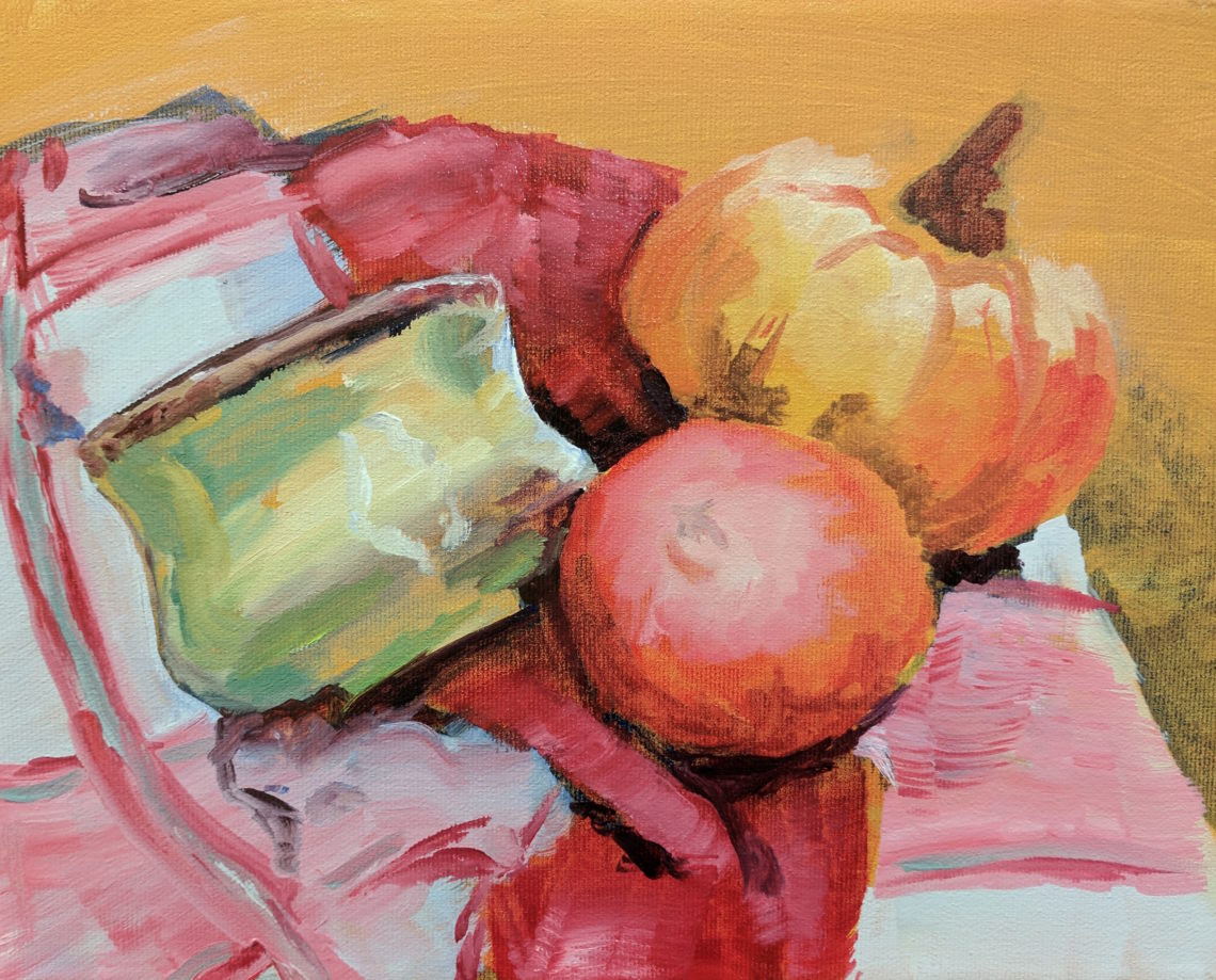 A brightly coloured oil painting by Jack Giesen that shows a gourd, pomegranate and ceramic bowl arranged on a red and white towel.